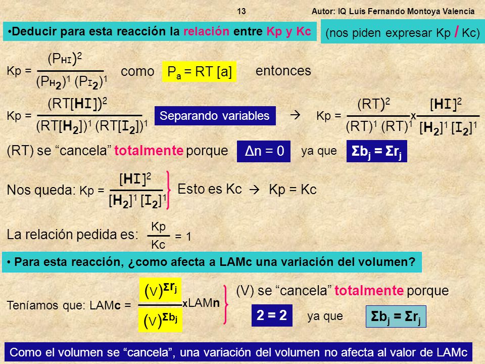 (V)Σrj (V)Σbj (PHI)2 como Pa = RT [a] entonces (PH2)1 (PI2)1 (RT[HI])2
